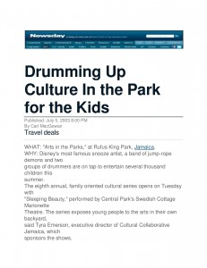 Drumming up culture in the parks for the kids- newsday-jpeg